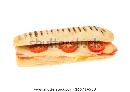 Melted cheese ham and tomato panini isolated against white - stock photo
