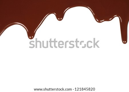 Melted chocolate dripping on white background