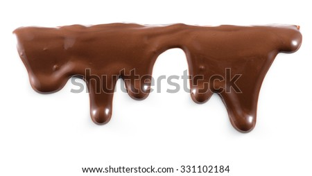 Melted chocolate is dripping. Streams isolated on white.