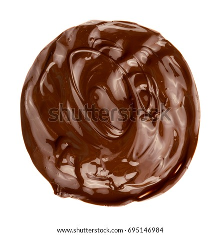 Melted chocolate swirl background, isolated