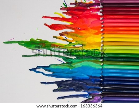 Melted crayon art - stock photo