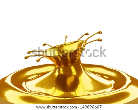 Melted Gold: liquid metal splashes isolated on white