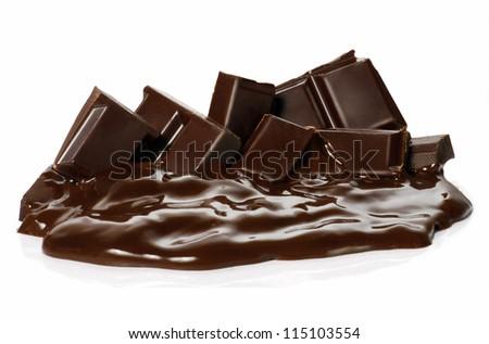 Melting chocolate bars. Chocolate cream and sticks on white background. - stock photo