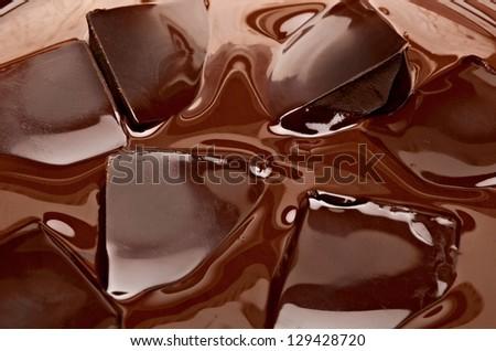Melting Chocolate Pieces - stock photo