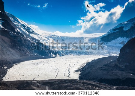 Melting Columbia Icefield in Banff National Park, Canada. The surface of the glacier is covered with huge cracks - stock photo