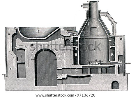 """melting furnace - an illustration to article """"Metallurgy"""" of the encyclopedia publishers Education, St. Petersburg, Russian Empire, 1896 - stock photo"""