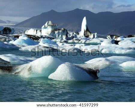 Melting glacier in Iceland - stock photo
