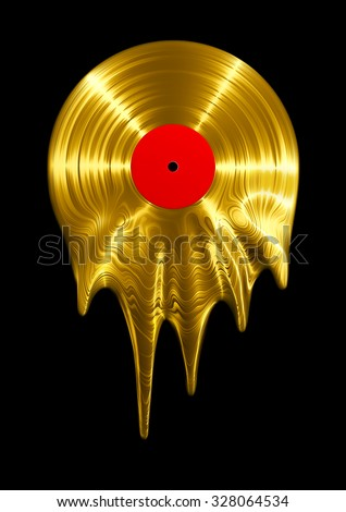 Melting gold vinyl record / 3D render of vinyl record melting - stock photo