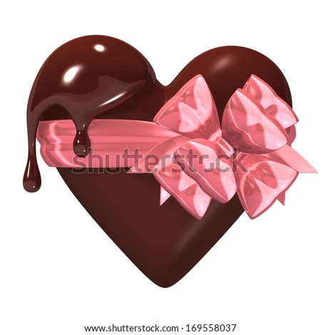 Melting Heart-shaped Chocolate With Ribbon. 3D render illustration. Isolated on White.