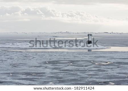 Melting Ice at Coastal Waters at Spring - stock photo
