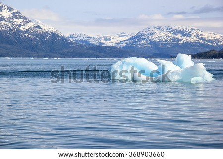 Melting iceberg in a Global Warming Environment at Gulf of Alaska - stock photo