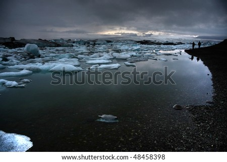 Melting Icebergs - Vatnajokull Glacier - Iceland - stock photo