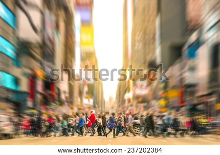 Melting pot people walking on zebra crossing and traffic jam on 7th avenue in Manhattan before sunset - Crowded streets of New York City during rush hour in urban business area - stock photo