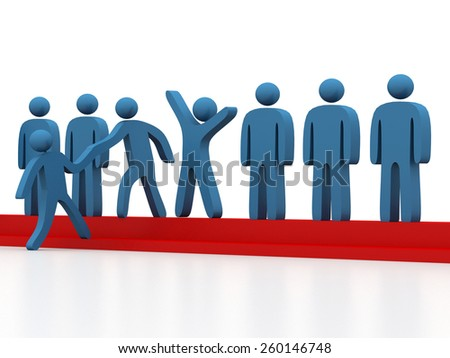 Member gives a hand up to help new person join social group or business team - stock photo