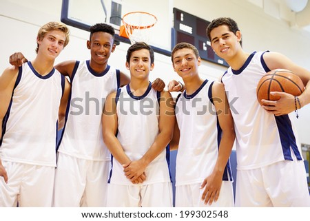 Members Of Male High School Basketball Team - stock photo