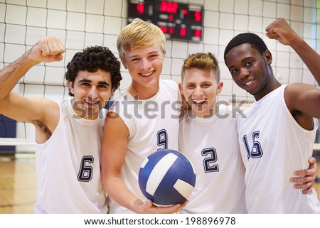 Members Of Male High School Volleyball Team - stock photo