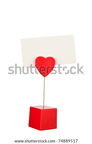 Memo holder with blank card isolated on a white background. - stock photo