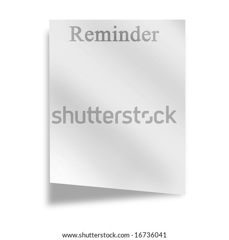 memo on a white background with soft shade