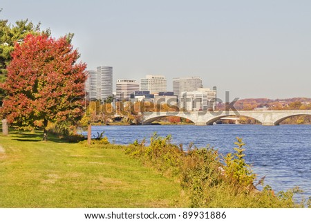 Memorial Bridge with the background view of Rosslyn Virginia - stock photo