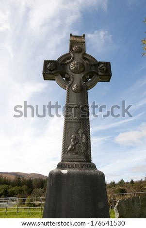 memorial celtic cross in honor of saint colomba founder of the colomban monks