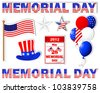 Memorial day. A set stickers of different icons with a picture the American flag.  Raster version. - stock photo