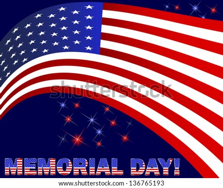 Memorial Day. American flag and beautiful text on a dark background with fireworks. Raster version.