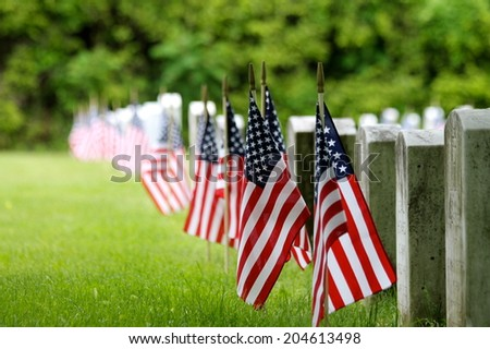 Memorial Day at the cemetery  - stock photo