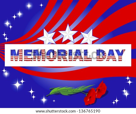 Memorial Day. Banner with beautiful text and red poppies.  Raster version. - stock photo