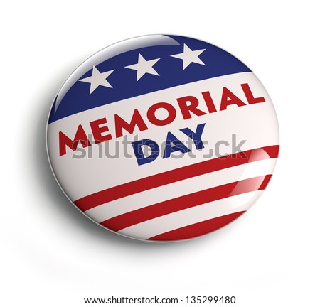 Memorial day button badge with USA flag stars and stripes. - stock photo