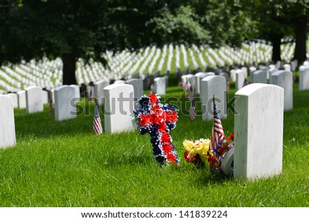 Memorial Day in Arlington National Cemetery - Washington DC United States  - stock photo