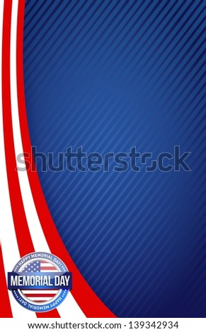 Memorial day red white and blue illustration design graphic background - stock photo