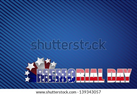 Memorial day red white and blue illustration design graphic background