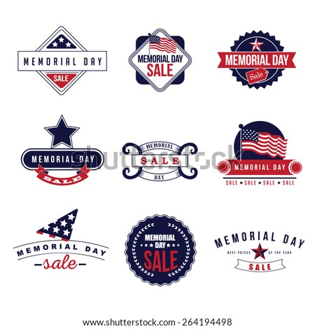 Memorial Day Sale icons royalty free stock illustration for greeting card, ad, promotion, poster, flier, blog, article, ad, marketing, retail shop, brochure, signage - stock photo