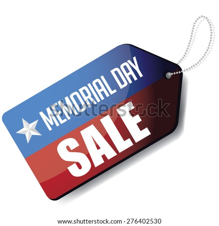 Memorial Day sale tag royalty free stock illustration for greeting card, ad, promotion, poster, flier, blog, article, social media, marketing - stock photo