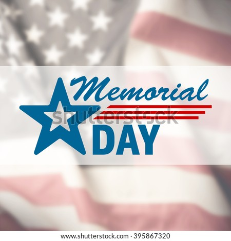 Memorial Day sign on USA flag background - stock photo