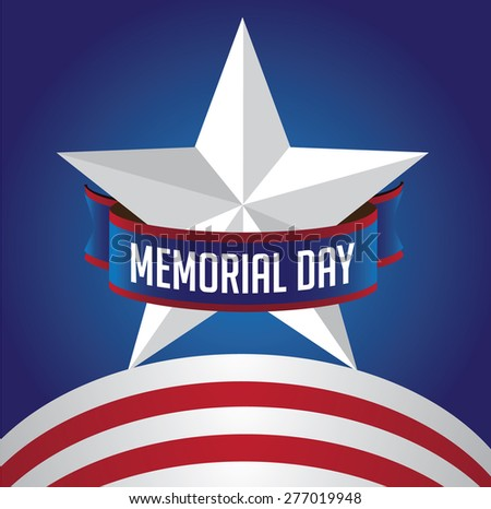 Memorial Day star and stripes design royalty free stock illustration for greeting card, ad, promotion, poster, flier, blog, article, social media, marketing - stock photo