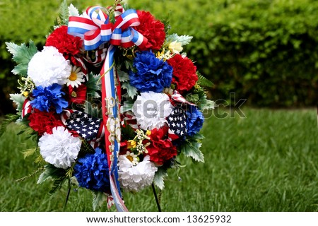 Memorial Day wreath of flowers - stock photo