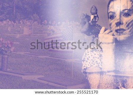 Memorial double exposure through Photoshop image of retro lady remembering those who have served in our country (USA) with veteran's cemetery in background - stock photo