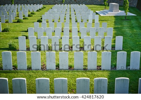 memorial for fallen soldiers of world war one in Belgium / white gravestones on cemetery in Belgium / sorrow for loss of beloved ones