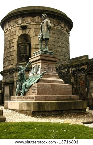 Memorial in Old Calton Burial Ground, Edinburgh, Scotland. Raised in remembrance of Scottish American Soldiers who fought in American Civil War. The only memorial to American Civil War outside USA - stock photo