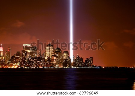 Memorial lights being displayed in Lower Manhattan on September 11th, 2007. - stock photo