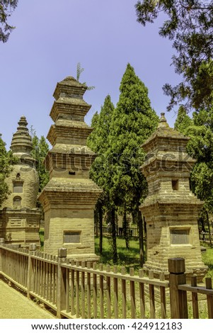 Memorial Pagodas that were built dedicated to the high priest of Shaolin Temple, Dengfeng County, Henan Province, China.