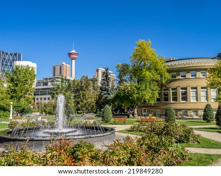 Memorial Park in Calgary, Alberta Canada during the beautiful fall season.  - stock photo