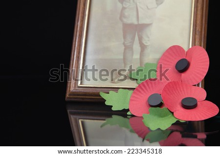 Memorial Poppies next to a photo of a world war one solder - stock photo