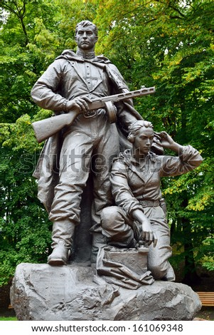 Memorial to Warrior - scout in Victory Park. Kaliningrad (before Koenigsberg), Russia - stock photo