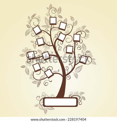 Memories tree with photo frames. Insert your photos into frames - stock photo