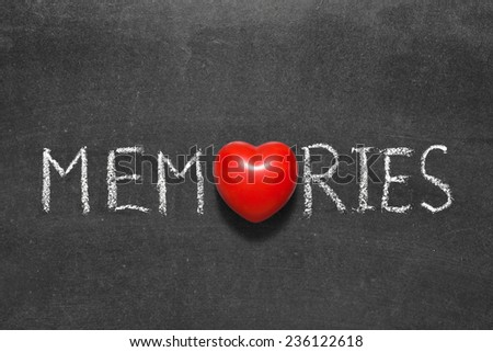 memories word handwritten on chalkboard with heart symbol instead of O