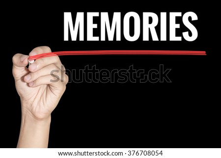 Memories word writing by men hand holding red highlighter pen on dark background - stock photo
