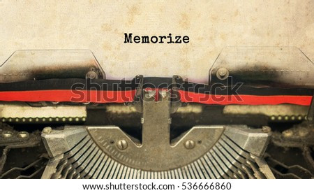 Memorize typed words on a vintage typewriter with vintage background