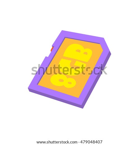 Memory card 8 gb icon in cartoon style isolated on white background. Storage symbol